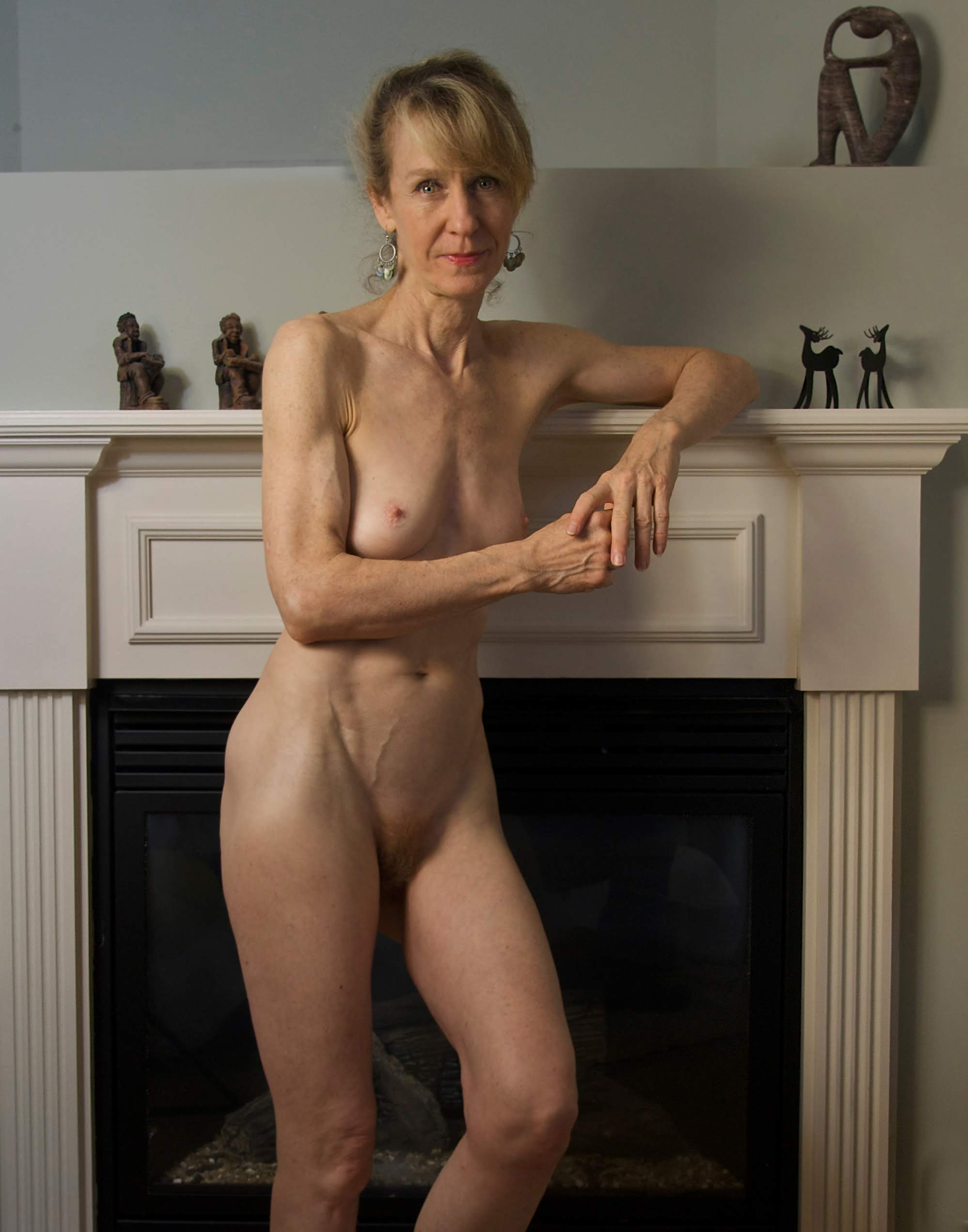 Very fit older woman at home