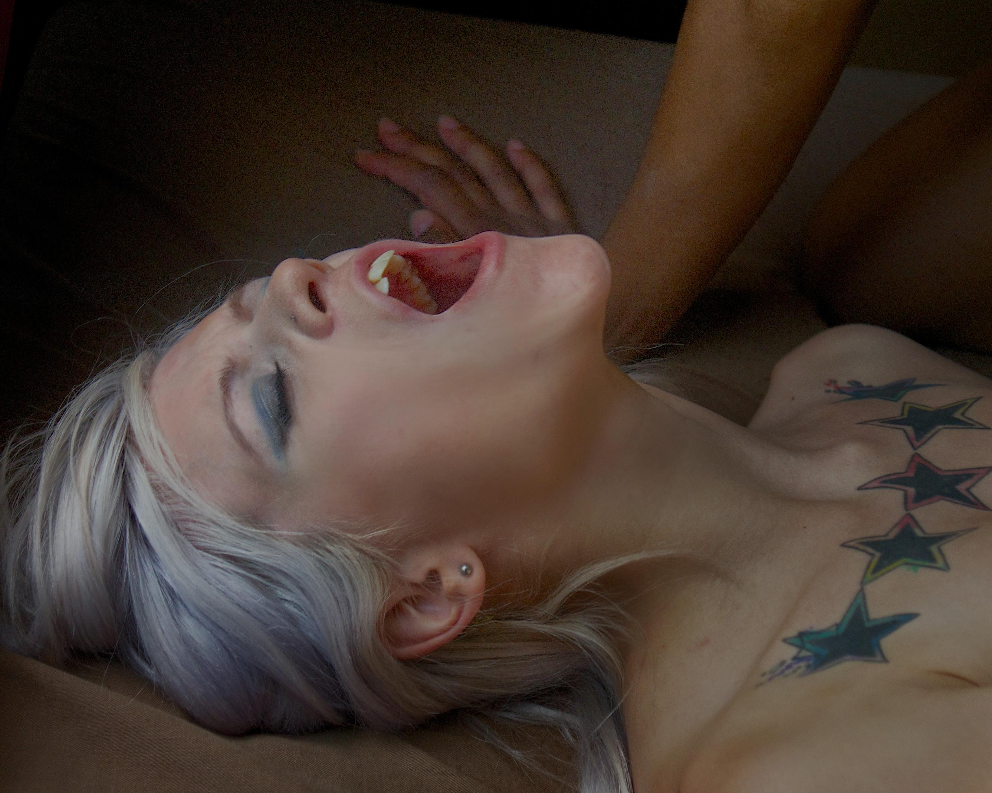 Woman experiencing pleasure