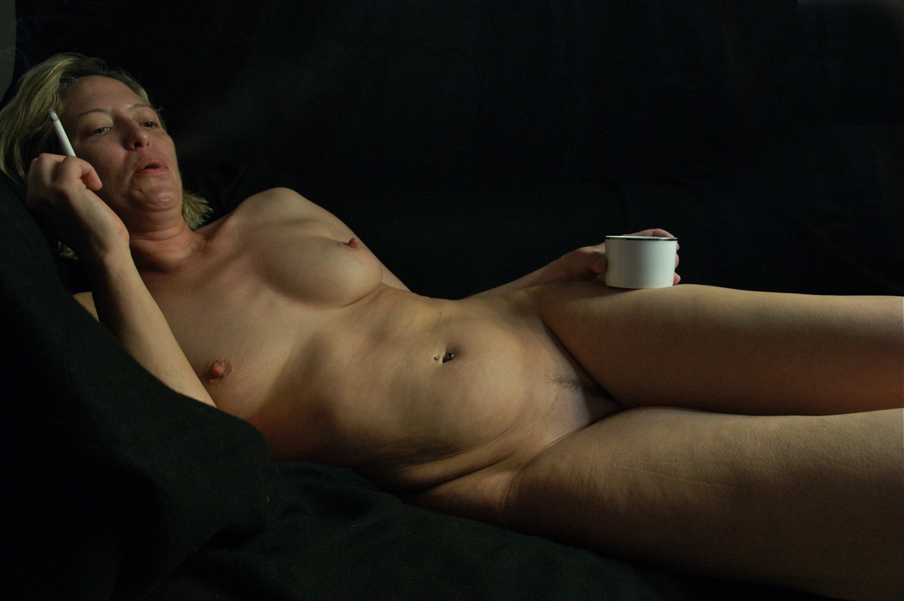 Naked woman smoking